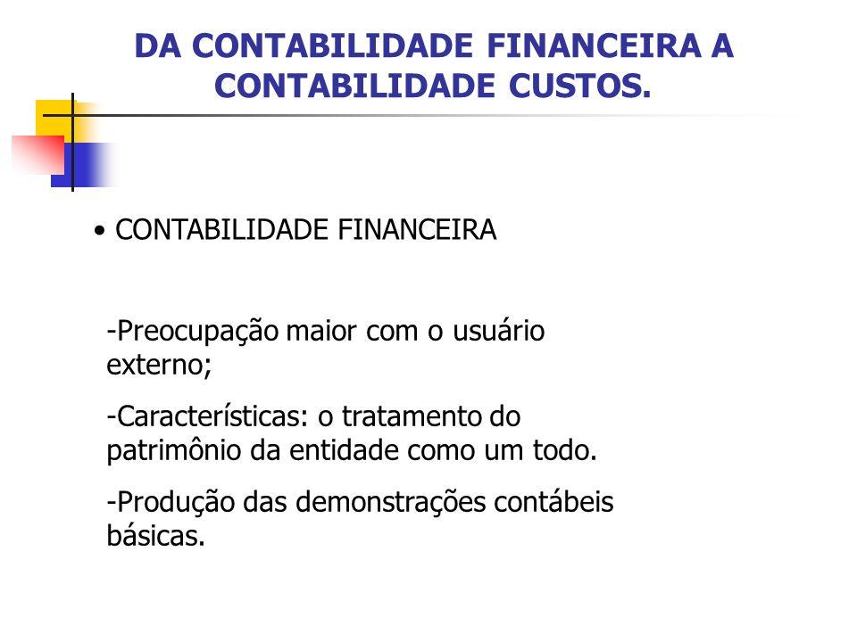 DA CONTABILIDADE FINANCEIRA A CONTABILIDADE CUSTOS. CONTABILIDADE FINANCEIRA -Preocupação maior com o usuário externo; -Características: o tratamento