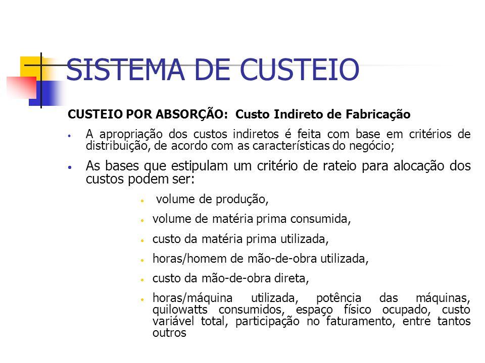 SISTEMA DE CUSTEIO CUSTEIO POR ABSORÇÃO: Custo Indireto de Fabricação A apropriação dos custos indiretos é feita com base em critérios de distribuição