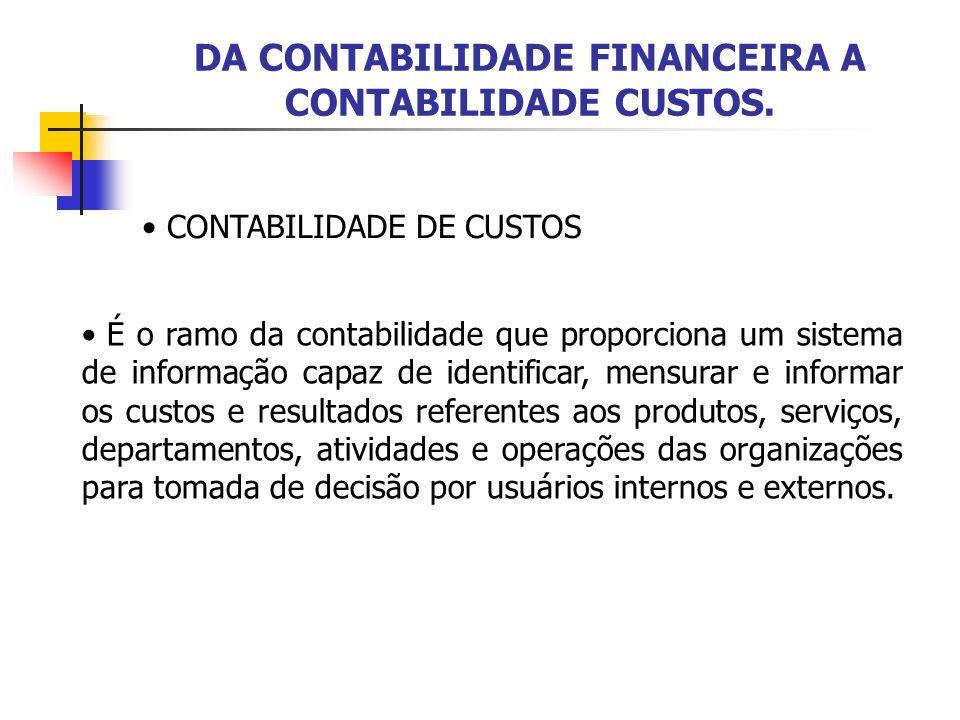 DA CONTABILIDADE FINANCEIRA A CONTABILIDADE CUSTOS. CONTABILIDADE DE CUSTOS É o ramo da contabilidade que proporciona um sistema de informação capaz d
