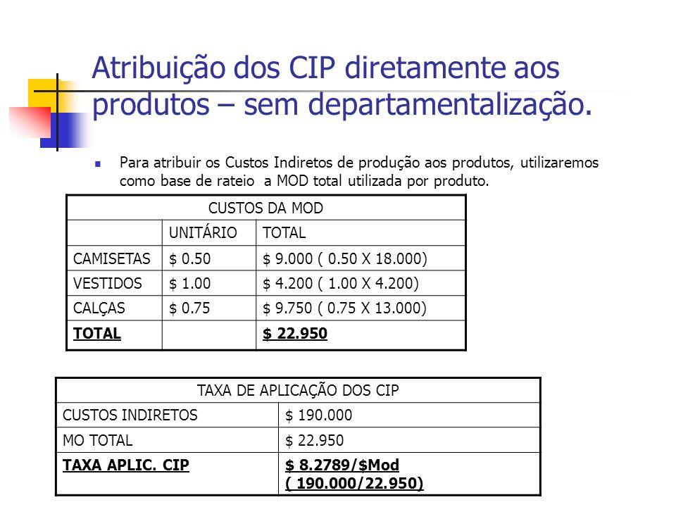 Atribuição dos CIP diretamente aos produtos – sem departamentalização. Para atribuir os Custos Indiretos de produção aos produtos, utilizaremos como b