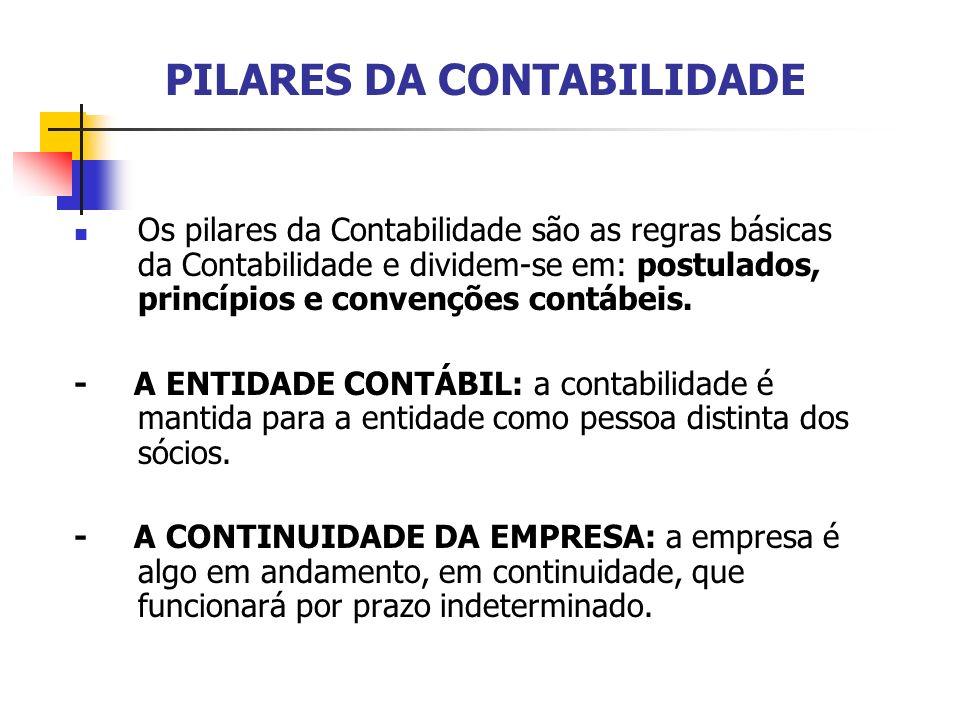 PILARES DA CONTABILIDADE Os pilares da Contabilidade são as regras básicas da Contabilidade e dividem-se em: postulados, princípios e convenções contá