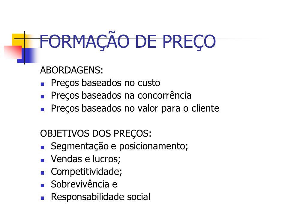 FORMAÇÃO DE PREÇO ABORDAGENS: Preços baseados no custo Preços baseados na concorrência Preços baseados no valor para o cliente OBJETIVOS DOS PREÇOS: S