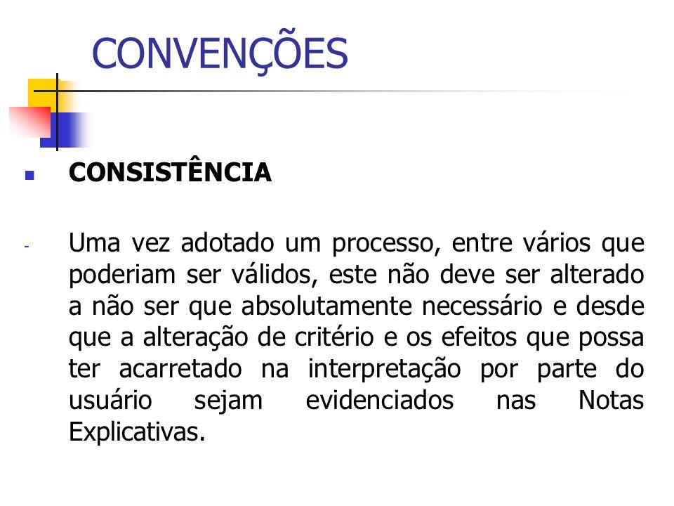 CONVENÇÕES CONSISTÊNCIA - Uma vez adotado um processo, entre vários que poderiam ser válidos, este não deve ser alterado a não ser que absolutamente n