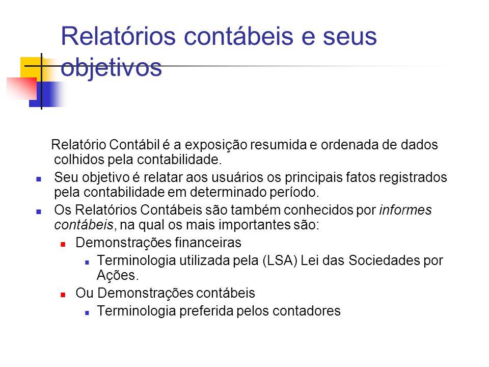 Relatório Contábil é a exposição resumida e ordenada de dados colhidos pela contabilidade. Seu objetivo é relatar aos usuários os principais fatos reg
