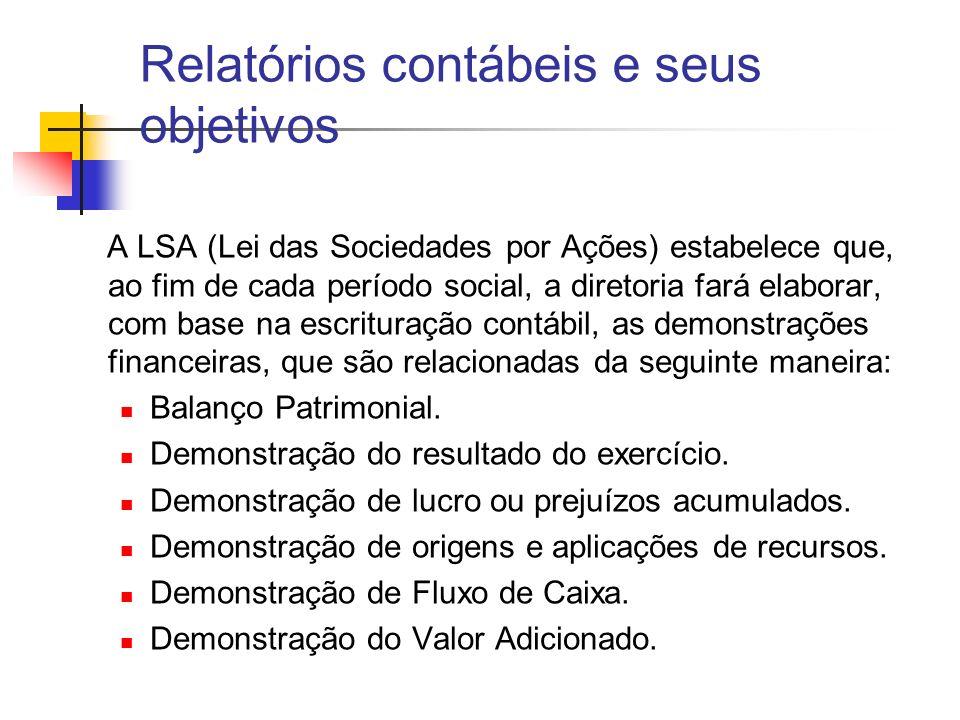 A LSA (Lei das Sociedades por Ações) estabelece que, ao fim de cada período social, a diretoria fará elaborar, com base na escrituração contábil, as d