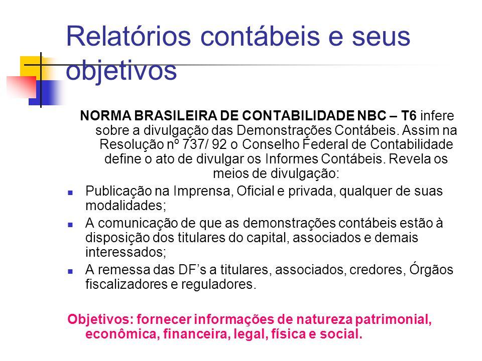 NORMA BRASILEIRA DE CONTABILIDADE NBC – T6 infere sobre a divulgação das Demonstrações Contábeis. Assim na Resolução nº 737/ 92 o Conselho Federal de