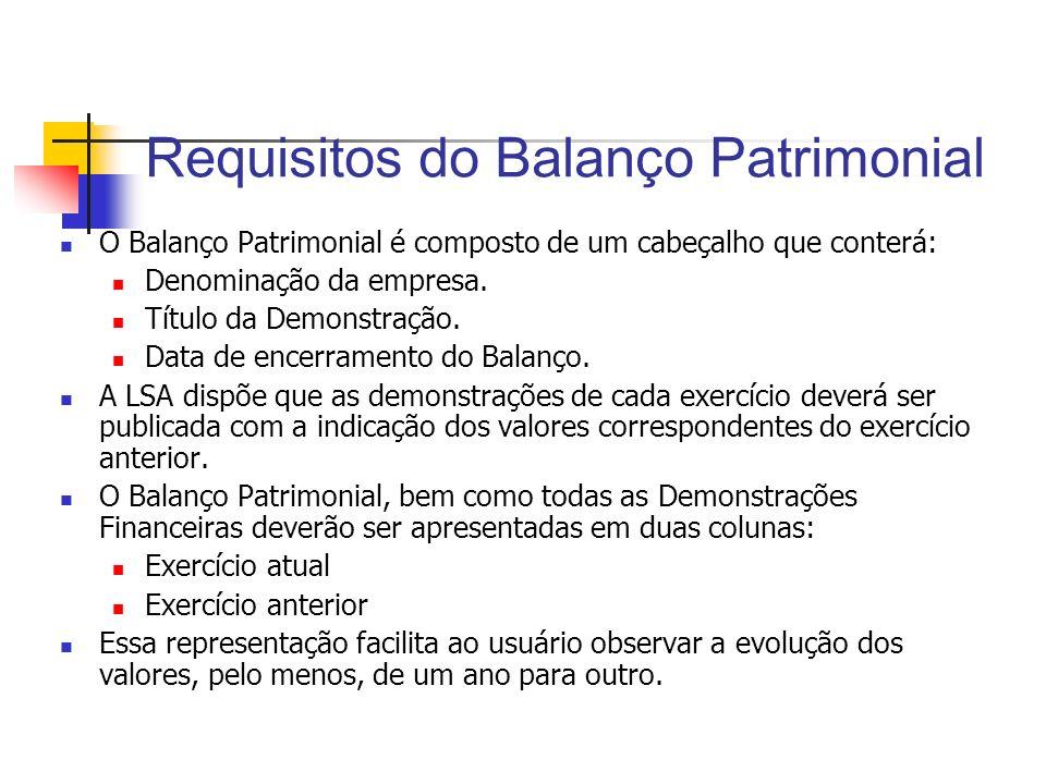 Requisitos do Balanço Patrimonial O Balanço Patrimonial é composto de um cabeçalho que conterá: Denominação da empresa. Título da Demonstração. Data d