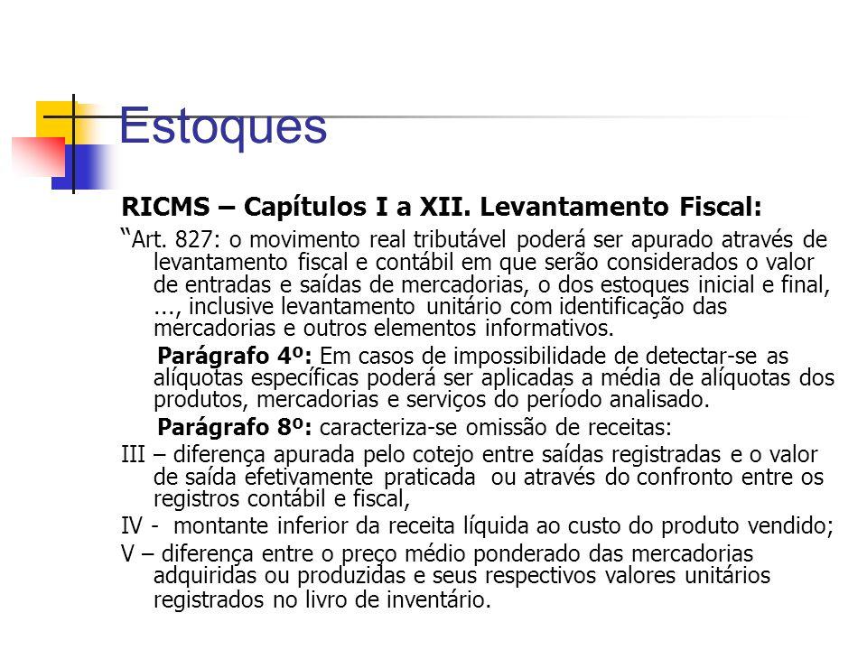 Estoques RICMS – Capítulos I a XII. Levantamento Fiscal: Art. 827: o movimento real tributável poderá ser apurado através de levantamento fiscal e con