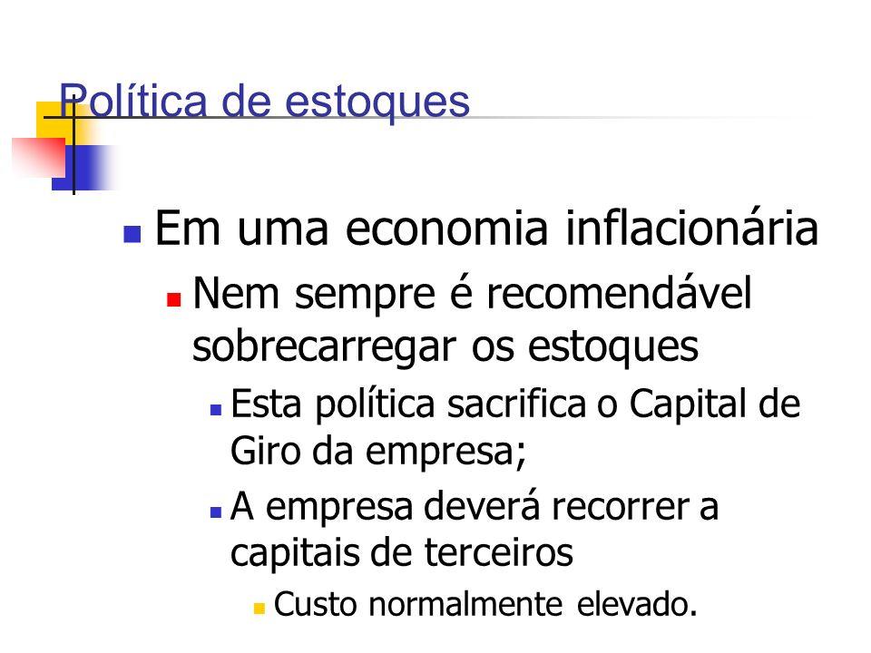 Política de estoques Em uma economia inflacionária Nem sempre é recomendável sobrecarregar os estoques Esta política sacrifica o Capital de Giro da em