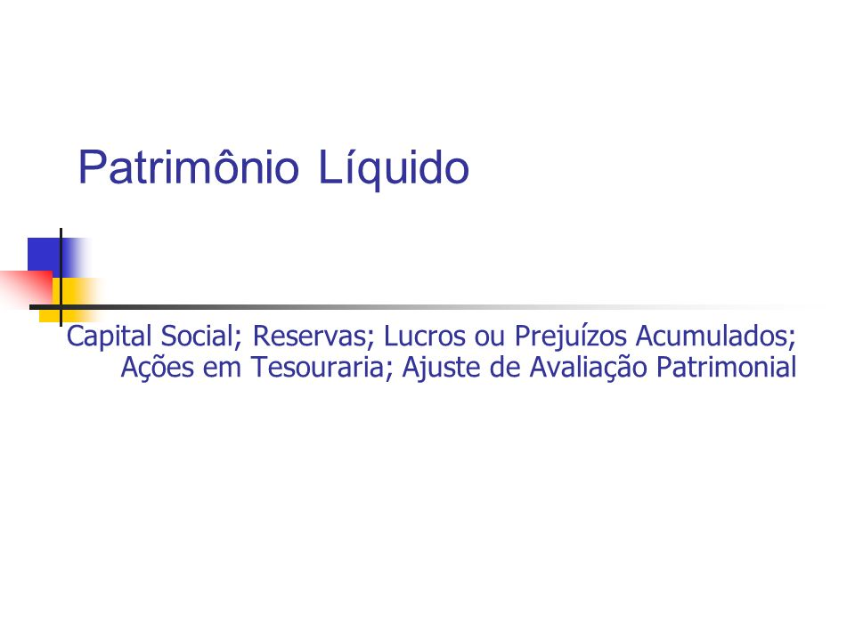 Patrimônio Líquido Capital Social; Reservas; Lucros ou Prejuízos Acumulados; Ações em Tesouraria; Ajuste de Avaliação Patrimonial