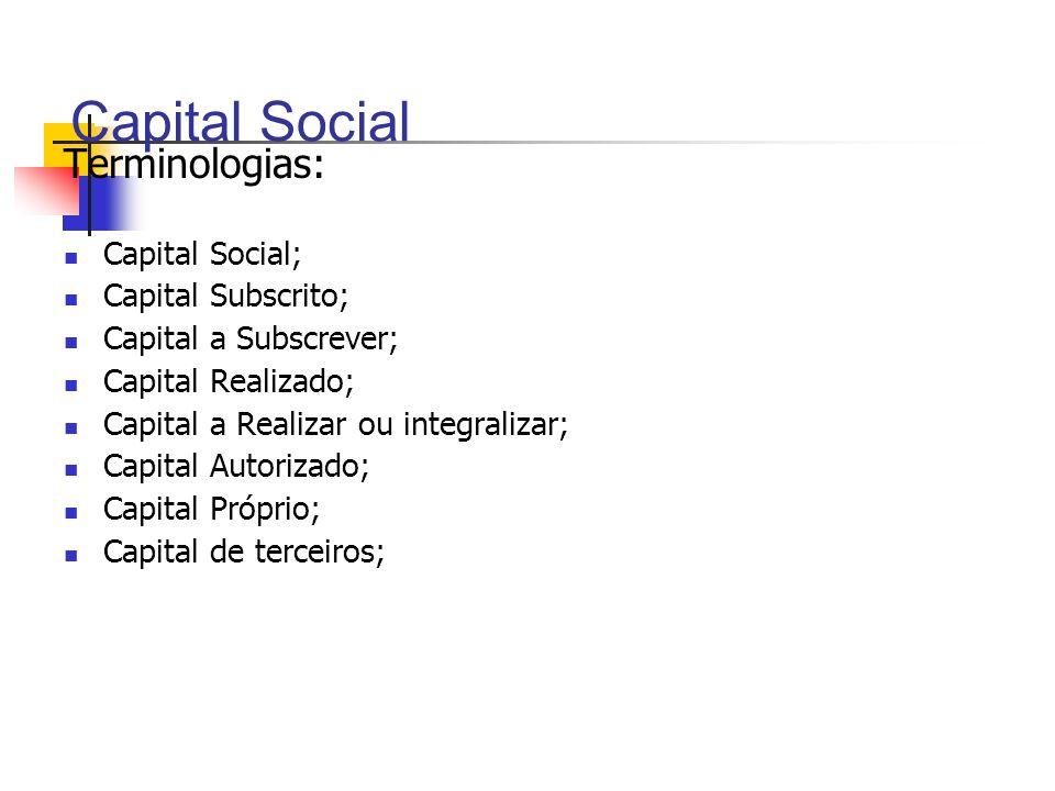 Terminologias: Capital Social; Capital Subscrito; Capital a Subscrever; Capital Realizado; Capital a Realizar ou integralizar; Capital Autorizado; Cap