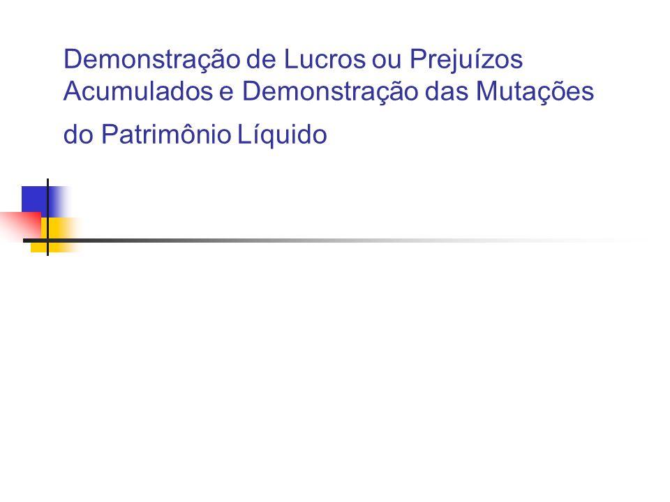 Demonstração de Lucros ou Prejuízos Acumulados e Demonstração das Mutações do Patrimônio Líquido