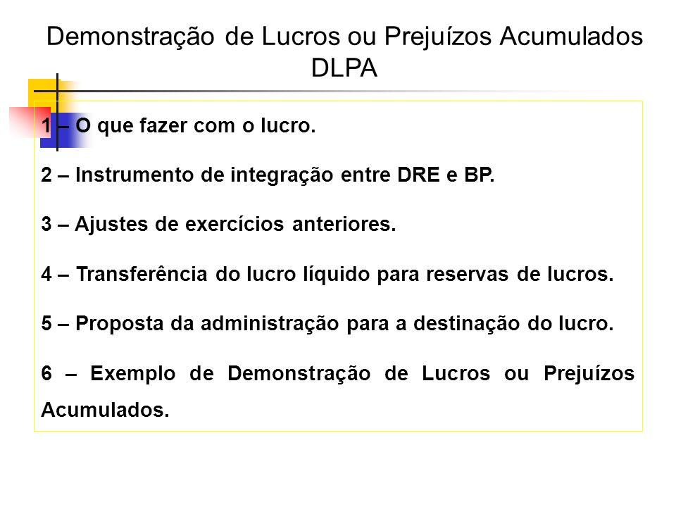 1 – O que fazer com o lucro. 2 – Instrumento de integração entre DRE e BP. 3 – Ajustes de exercícios anteriores. 4 – Transferência do lucro líquido pa