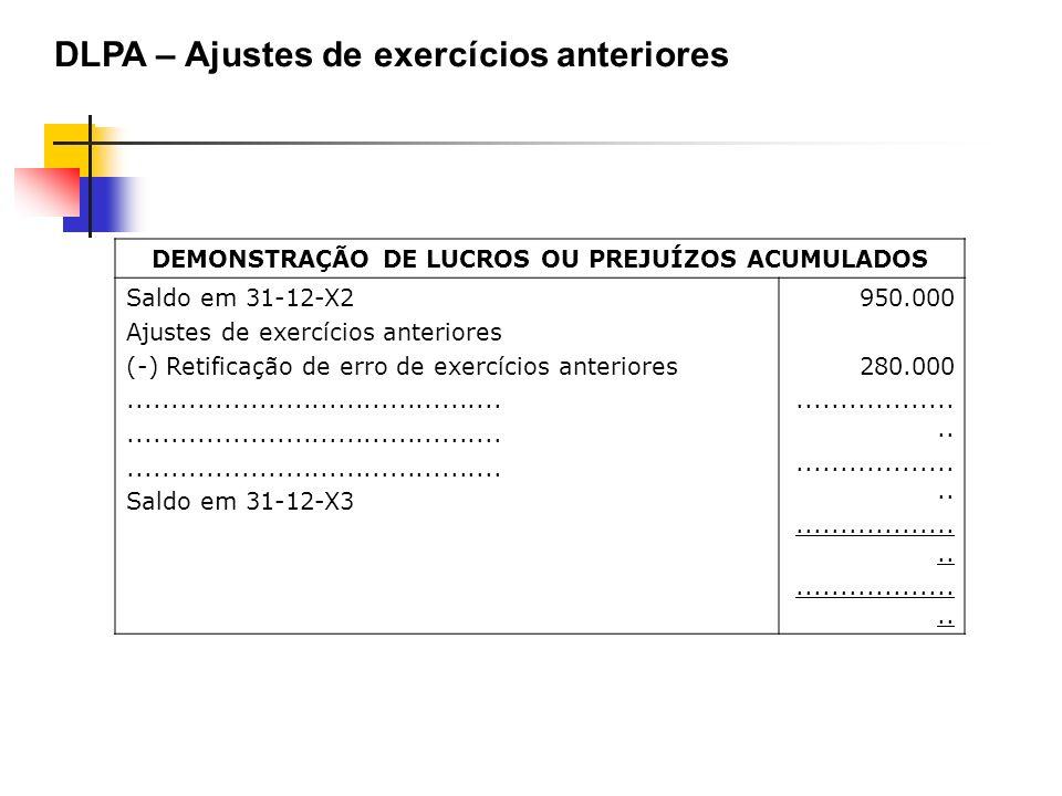 DEMONSTRAÇÃO DE LUCROS OU PREJUÍZOS ACUMULADOS Saldo em 31-12-X2 Ajustes de exercícios anteriores (-) Retificação de erro de exercícios anteriores....