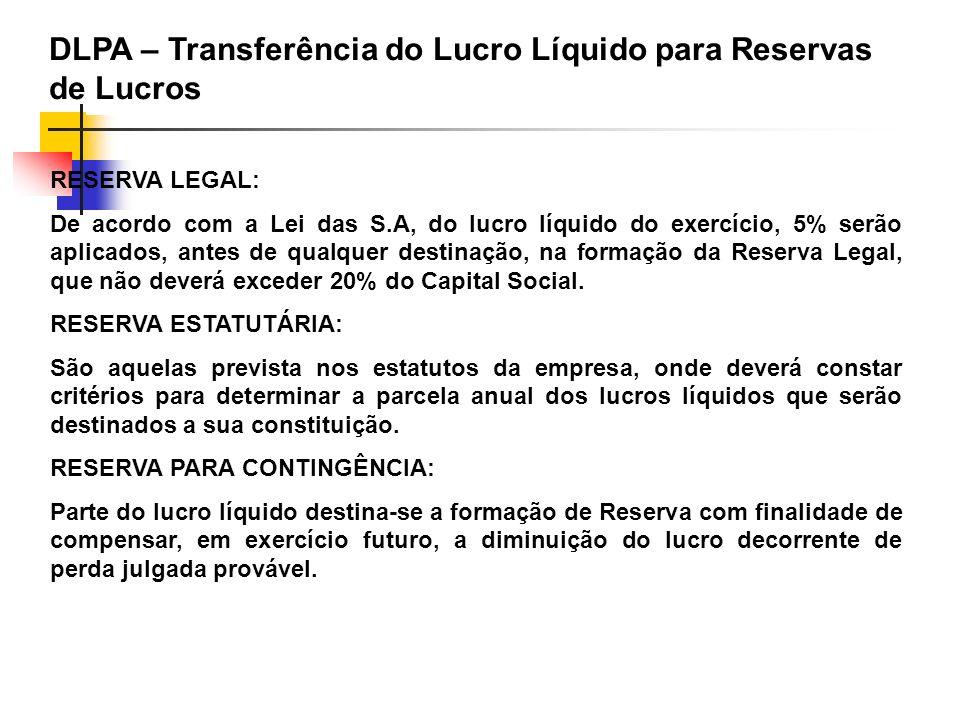 RESERVA LEGAL: De acordo com a Lei das S.A, do lucro líquido do exercício, 5% serão aplicados, antes de qualquer destinação, na formação da Reserva Le