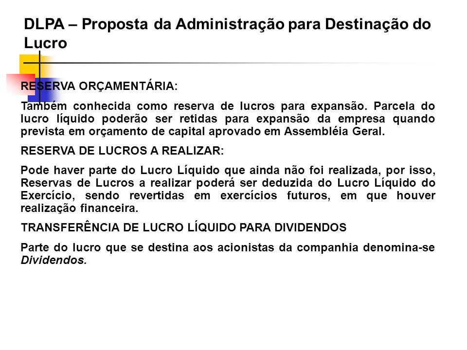 RESERVA ORÇAMENTÁRIA: Também conhecida como reserva de lucros para expansão. Parcela do lucro líquido poderão ser retidas para expansão da empresa qua