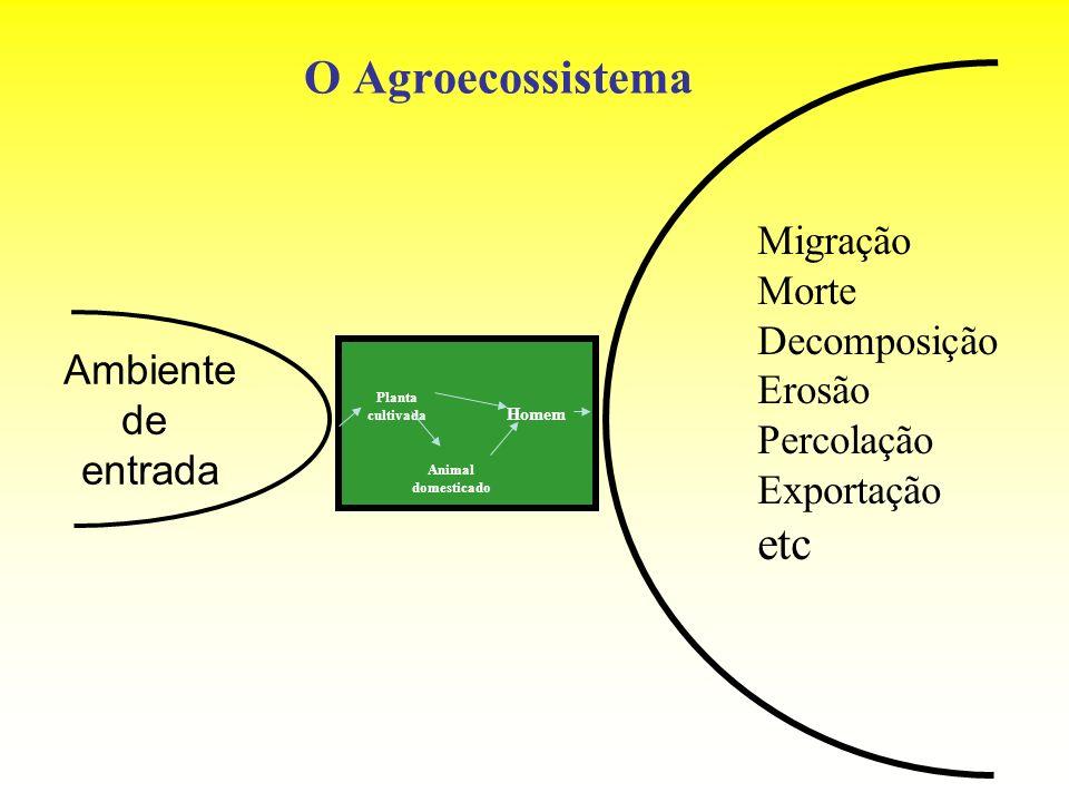 O Agroecossistema Ambiente de entrada Planta cultivada Animal domesticado Homem Migração Morte Decomposição Erosão Percolação Exportação etc
