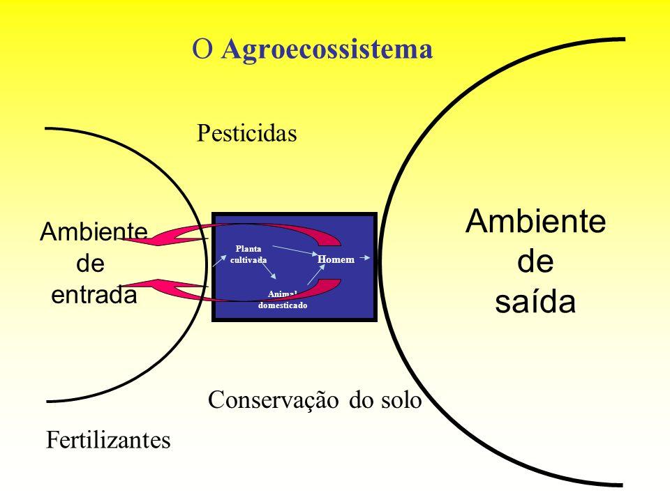 O Agroecossistema Ambiente de entrada Ambiente de saída Planta cultivada Animal domesticado Homem Fertilizantes Conservação do solo Pesticidas