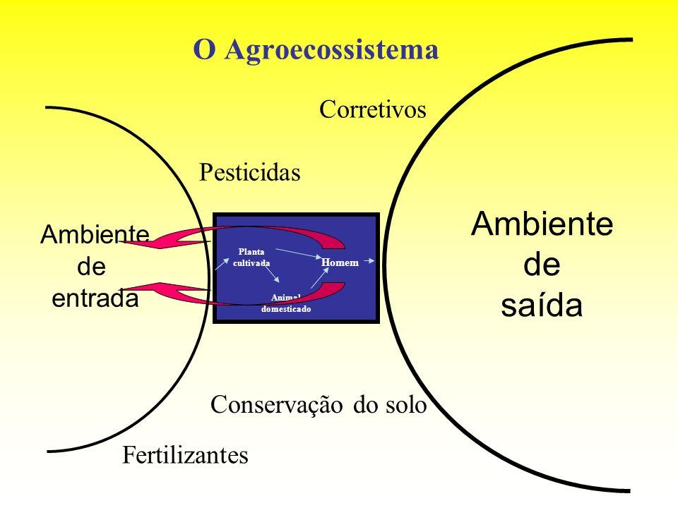O Agroecossistema Ambiente de entrada Ambiente de saída Planta cultivada Animal domesticado Homem Fertilizantes Conservação do solo Pesticidas Correti