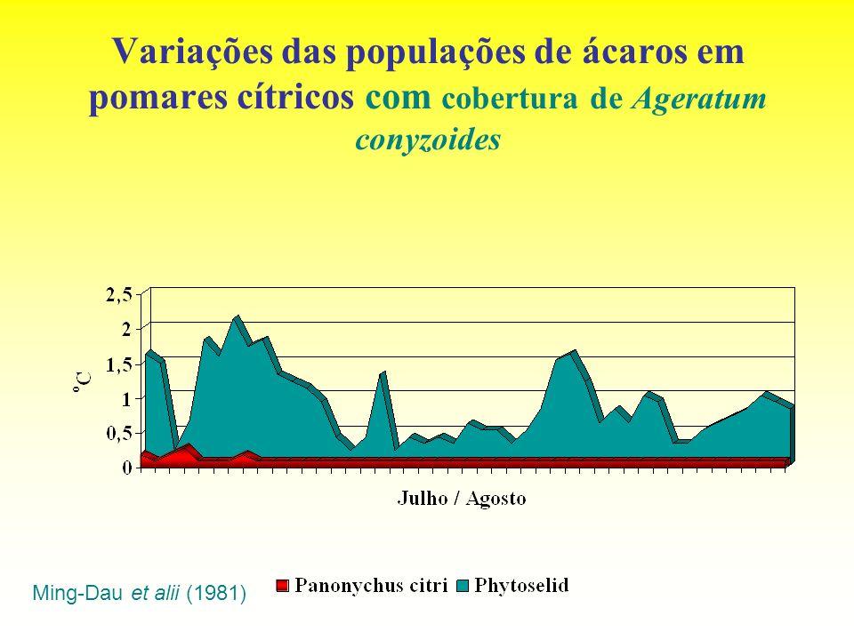 Variações das populações de ácaros em pomares cítricos com cobertura de Ageratum conyzoides Ming-Dau et alii (1981)