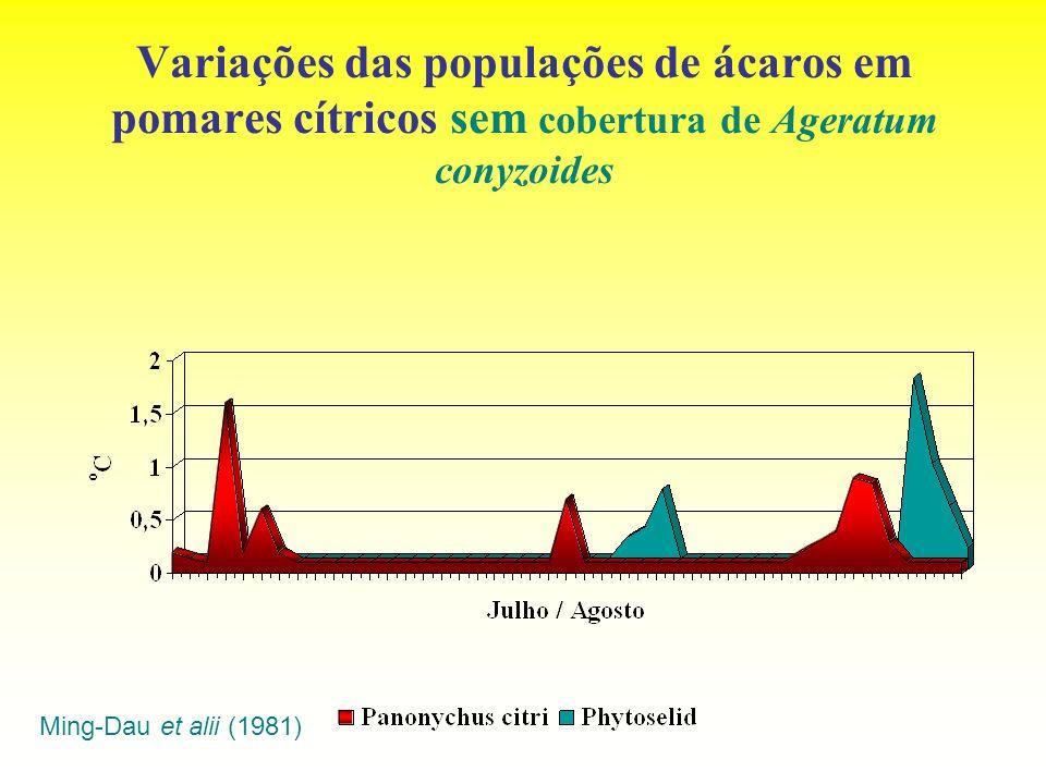 Variações das populações de ácaros em pomares cítricos sem cobertura de Ageratum conyzoides Ming-Dau et alii (1981)