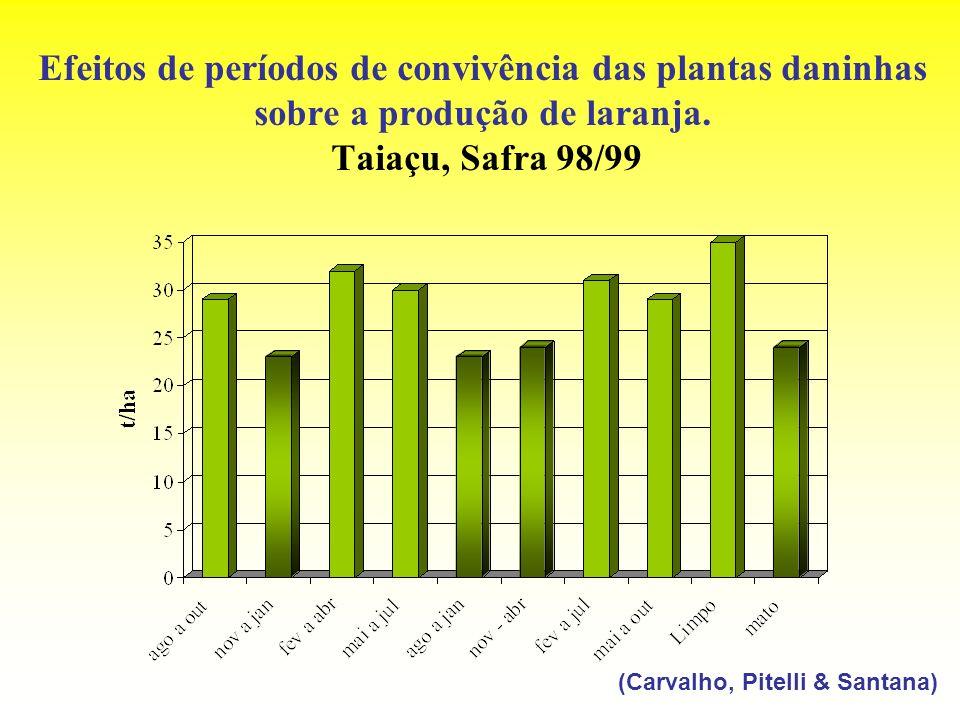 Efeitos de períodos de convivência das plantas daninhas sobre a produção de laranja. Taiaçu, Safra 98/99 (Carvalho, Pitelli & Santana)