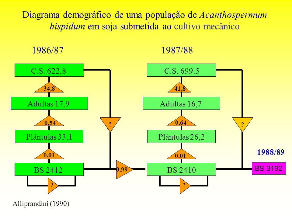 Diagrama demográfico de uma população de Acanthospermum hispidum em soja submetida ao cultivo mecânico BS 3192 1988/89 Alliprandini (1990)