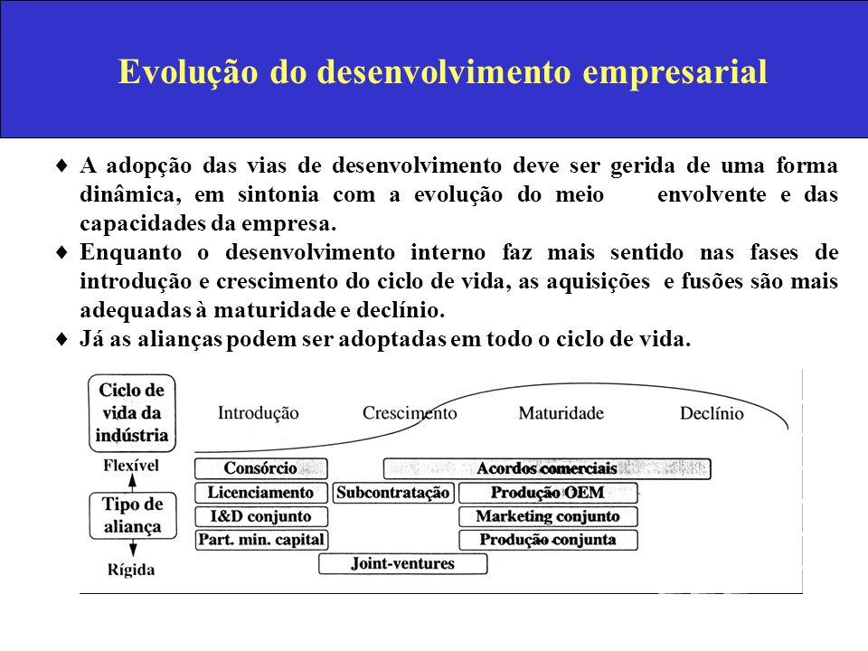 Evolução do desenvolvimento empresarial A adopção das vias de desenvolvimento deve ser gerida de uma forma dinâmica, em sintonia com a evolução do mei