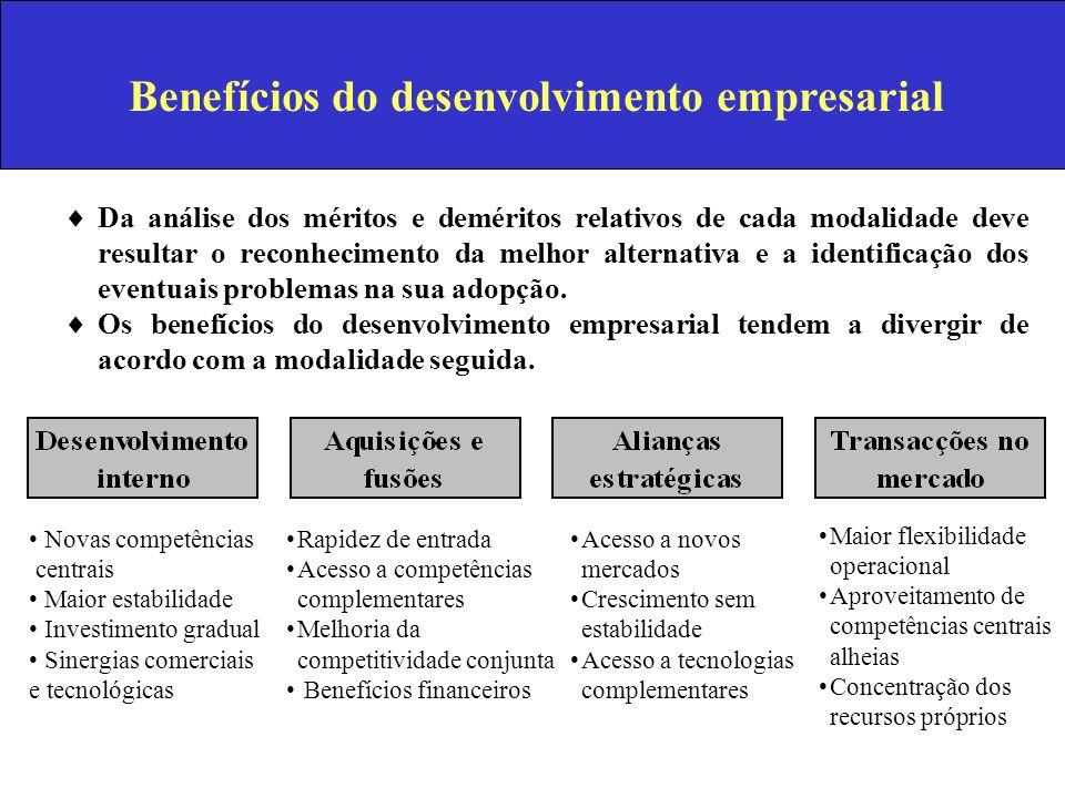 Benefícios do desenvolvimento empresarial Da análise dos méritos e deméritos relativos de cada modalidade deve resultar o reconhecimento da melhor alt