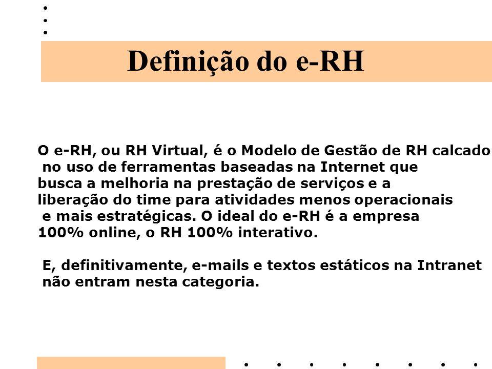 Definição do e-RH O e-RH, ou RH Virtual, é o Modelo de Gestão de RH calcado no uso de ferramentas baseadas na Internet que busca a melhoria na prestaç