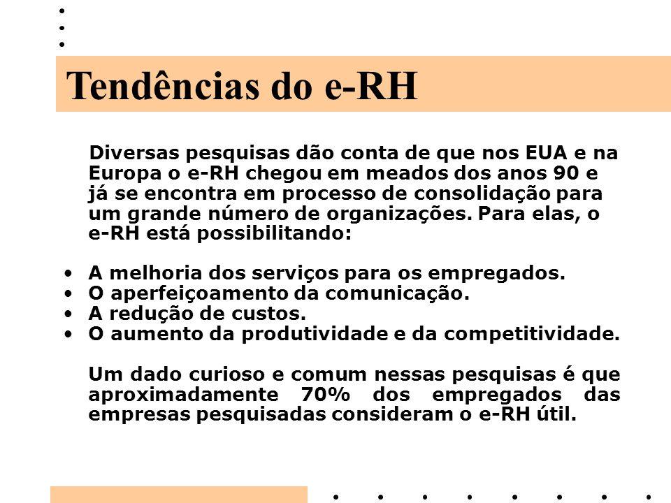 Diversas pesquisas dão conta de que nos EUA e na Europa o e-RH chegou em meados dos anos 90 e já se encontra em processo de consolidação para um grand