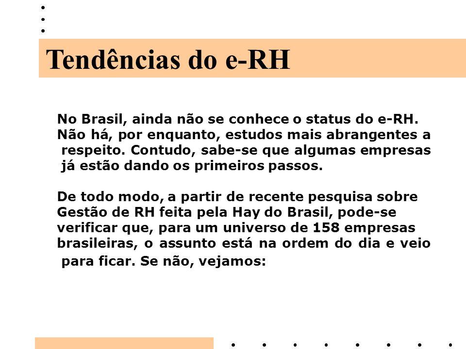 No Brasil, ainda não se conhece o status do e-RH. Não há, por enquanto, estudos mais abrangentes a respeito. Contudo, sabe-se que algumas empresas já