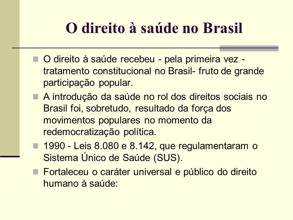 O direito à saúde no Brasil O direito à saúde recebeu - pela primeira vez - tratamento constitucional no Brasil- fruto de grande participação popular.