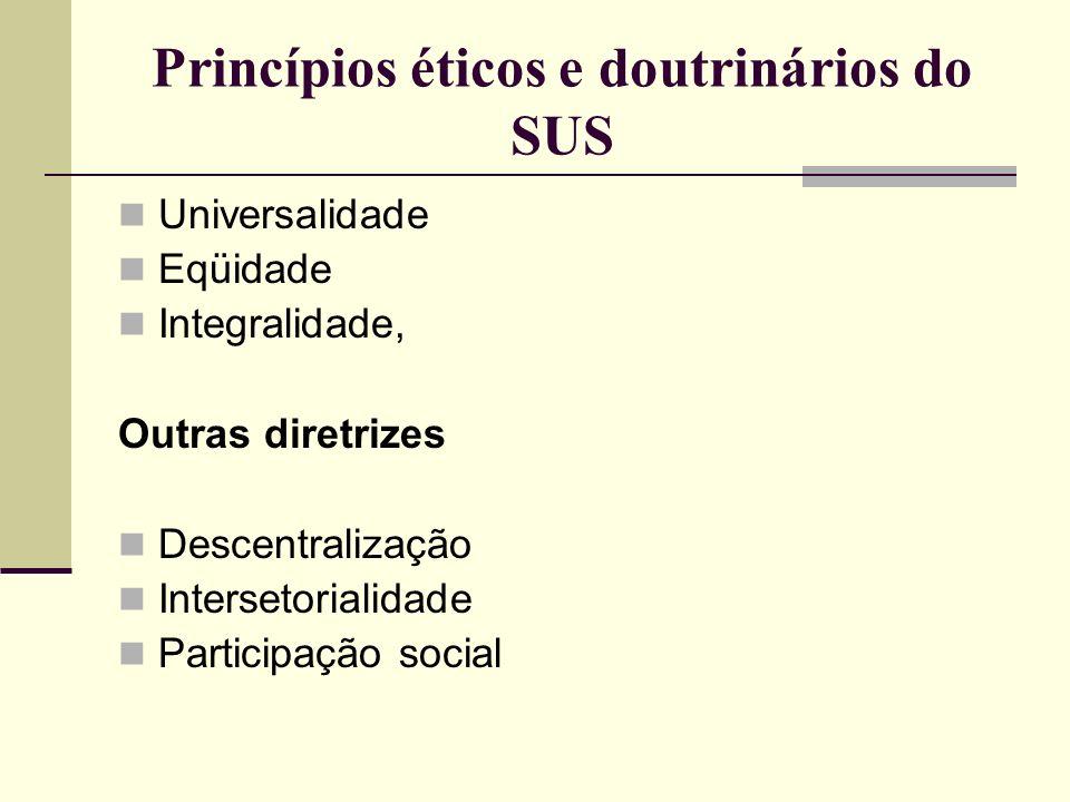 Princípios éticos e doutrinários do SUS Universalidade Eqüidade Integralidade, Outras diretrizes Descentralização Intersetorialidade Participação soci
