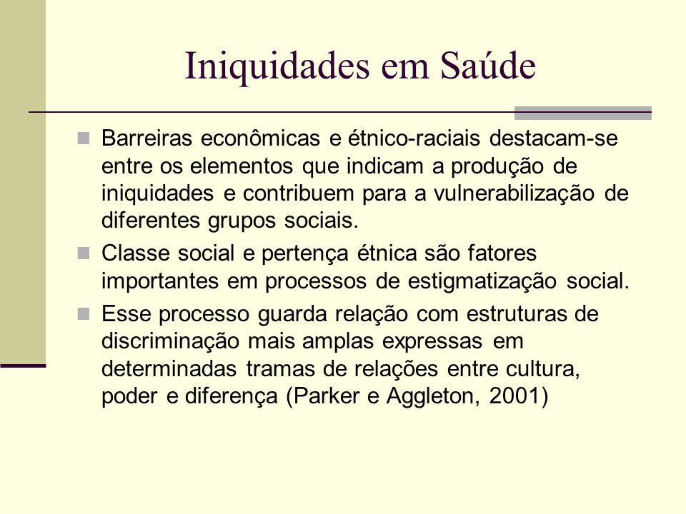 Iniquidades em Saúde Barreiras econômicas e étnico-raciais destacam-se entre os elementos que indicam a produção de iniquidades e contribuem para a vu