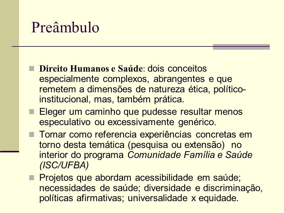 Preâmbulo Direito Humanos e Saúde: dois conceitos especialmente complexos, abrangentes e que remetem a dimensões de natureza ética, político- instituc