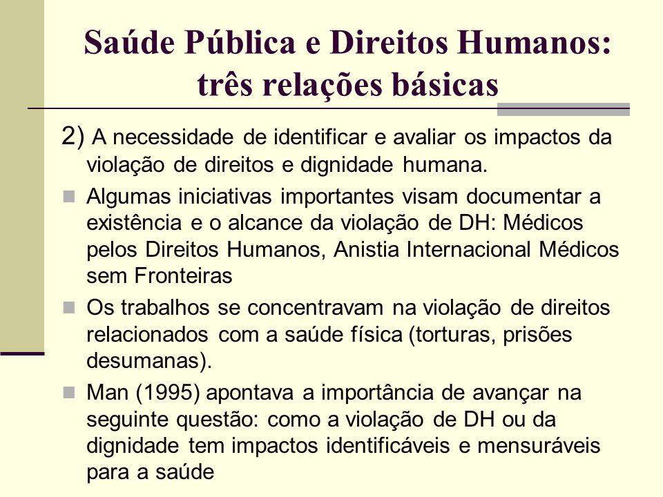 Saúde Pública e Direitos Humanos: três relações básicas 2) A necessidade de identificar e avaliar os impactos da violação de direitos e dignidade huma