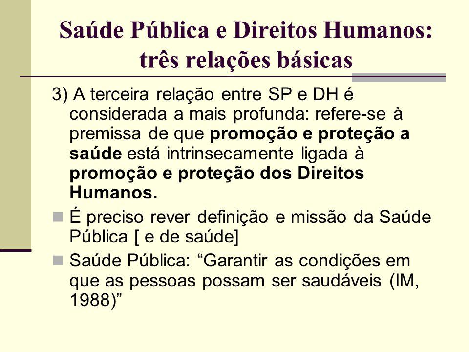 Saúde Pública e Direitos Humanos: três relações básicas 3) A terceira relação entre SP e DH é considerada a mais profunda: refere-se à premissa de que