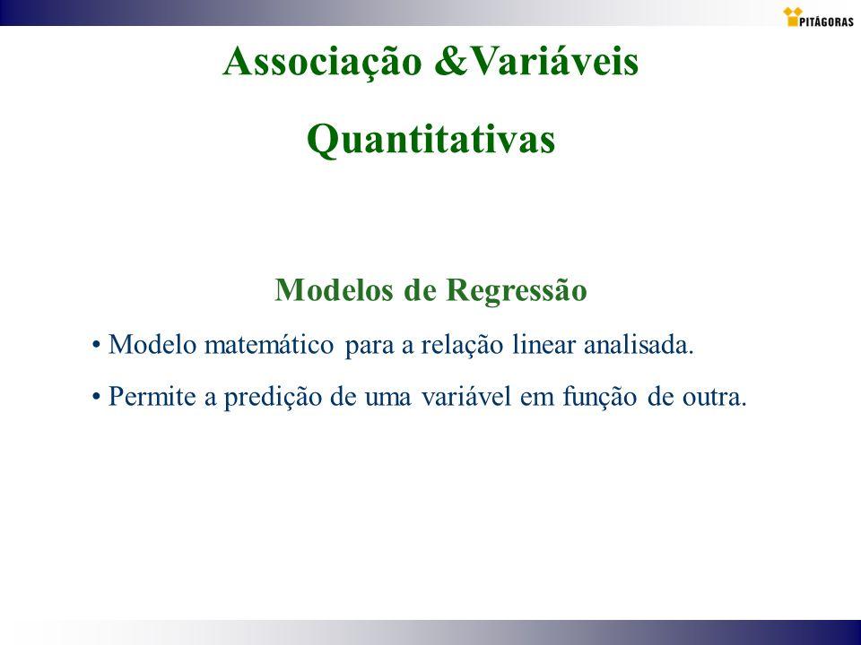 Associação &Variáveis Quantitativas Modelos de Regressão Modelo matemático para a relação linear analisada. Permite a predição de uma variável em funç