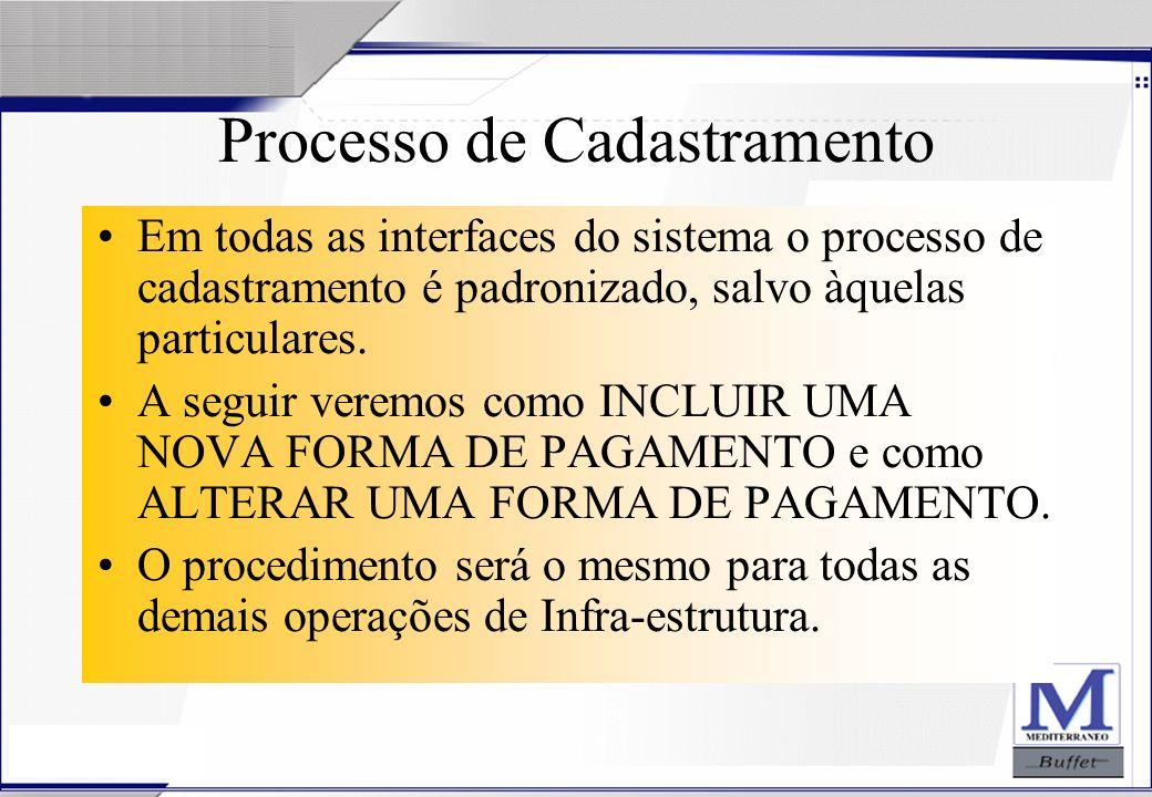 Processo de Cadastramento Em todas as interfaces do sistema o processo de cadastramento é padronizado, salvo àquelas particulares. A seguir veremos co