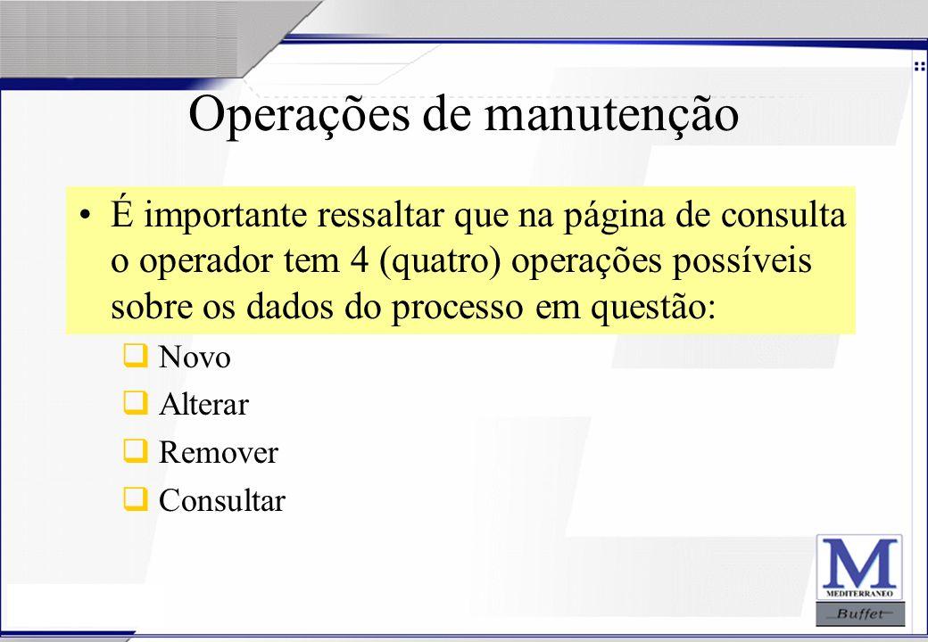 24/07/2003 Operações de manutenção É importante ressaltar que na página de consulta o operador tem 4 (quatro) operações possíveis sobre os dados do pr