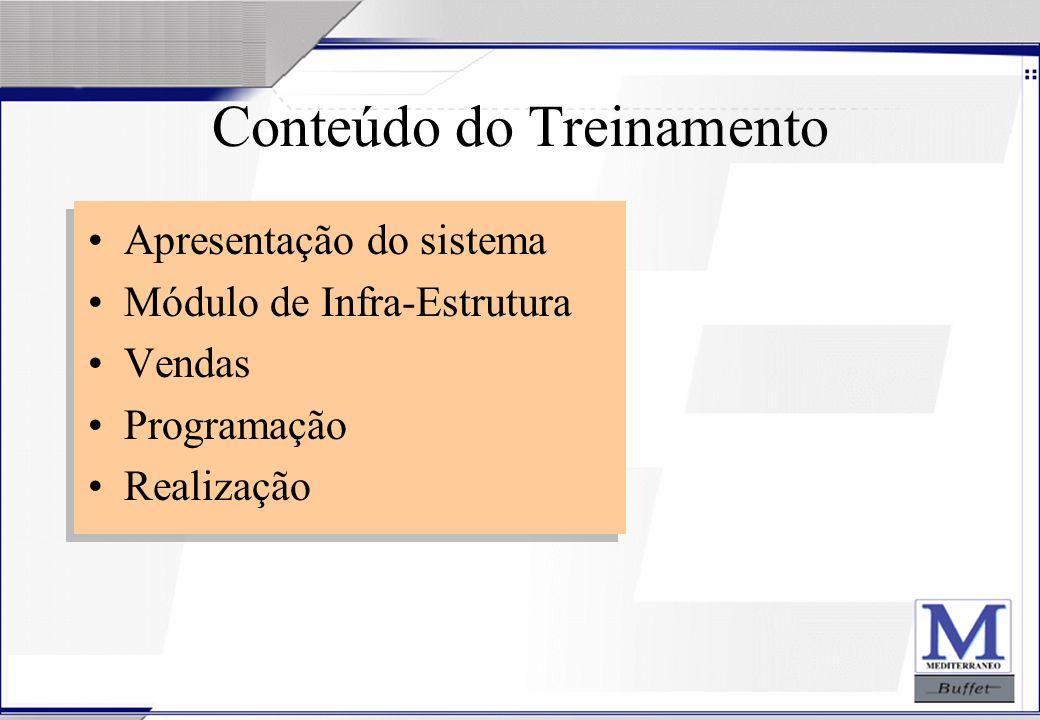24/07/2003 Conteúdo do Treinamento Apresentação do sistema Módulo de Infra-Estrutura Vendas Programação Realização