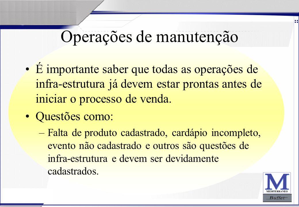 24/07/2003 Operações de manutenção É importante saber que todas as operações de infra-estrutura já devem estar prontas antes de iniciar o processo de