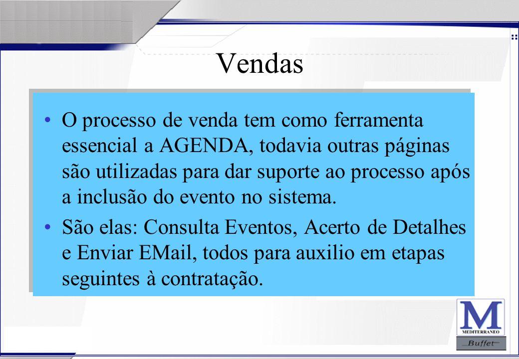 24/07/2003 Vendas O processo de venda tem como ferramenta essencial a AGENDA, todavia outras páginas são utilizadas para dar suporte ao processo após