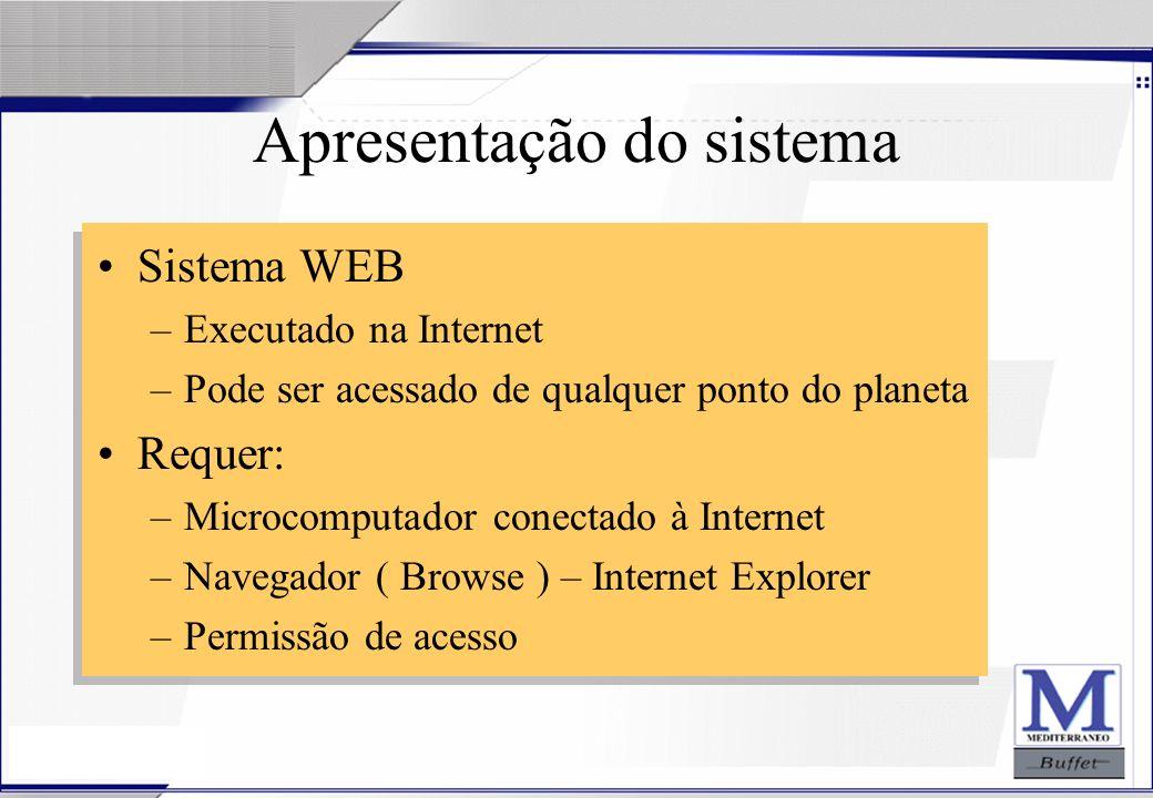 24/07/2003 Apresentação do sistema Sistema WEB –Executado na Internet –Pode ser acessado de qualquer ponto do planeta Requer: –Microcomputador conecta