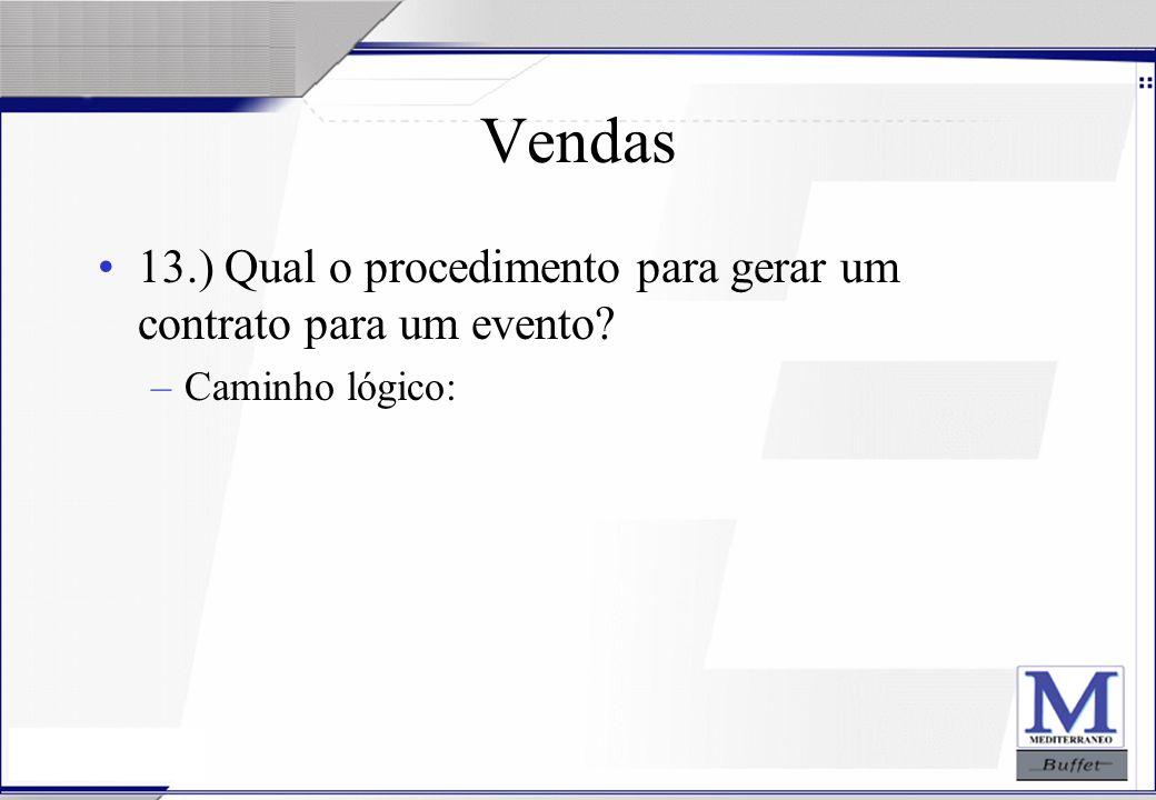 24/07/2003 Vendas 13.) Qual o procedimento para gerar um contrato para um evento? –Caminho lógico: