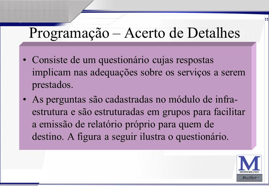 24/07/2003 Programação – Acerto de Detalhes Consiste de um questionário cujas respostas implicam nas adequações sobre os serviços a serem prestados. A