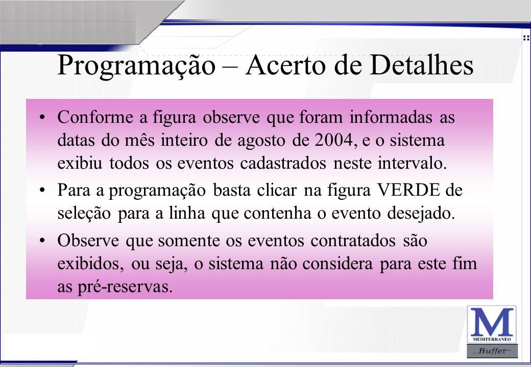 24/07/2003 Programação – Acerto de Detalhes Conforme a figura observe que foram informadas as datas do mês inteiro de agosto de 2004, e o sistema exib