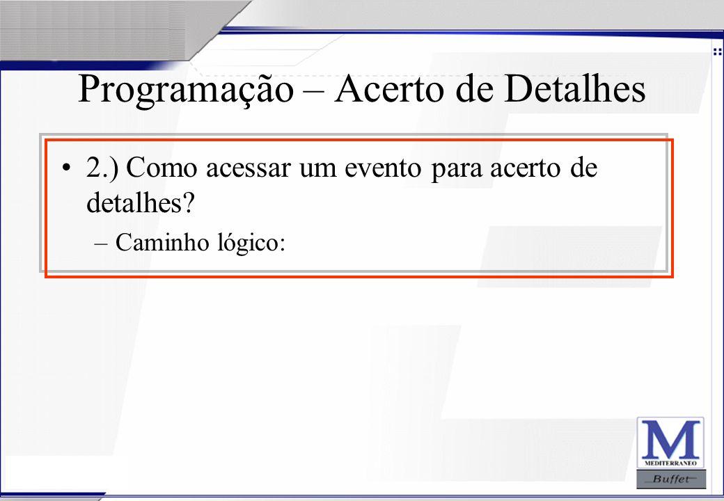 24/07/2003 Programação – Acerto de Detalhes 2.) Como acessar um evento para acerto de detalhes? –Caminho lógico: