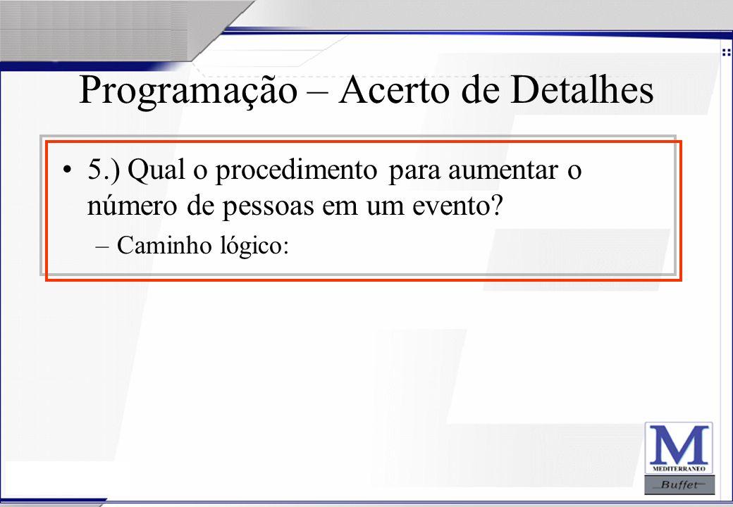 24/07/2003 Programação – Acerto de Detalhes 5.) Qual o procedimento para aumentar o número de pessoas em um evento? –Caminho lógico: